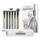 The Mandalorian Set Papeleria Para Niños de Star Wars, Incluye Estuche Escolar, Bloc De Notas de Baby Yoda y Bolígrafos de The Mandalorian