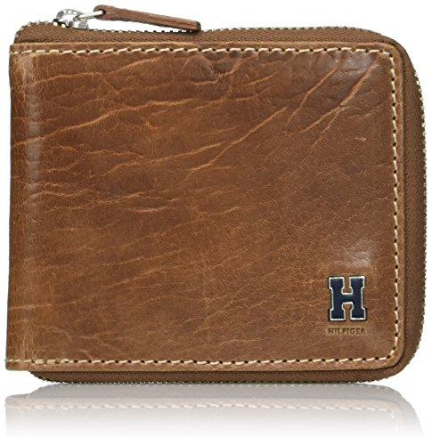 Tommy Hilfiger RFID Blocking Leather Zip Around Bifold Wallet Accessori da Viaggio-Portafoglio bi-Fold, Marrone Chiaro, Taglia Unica Uomo