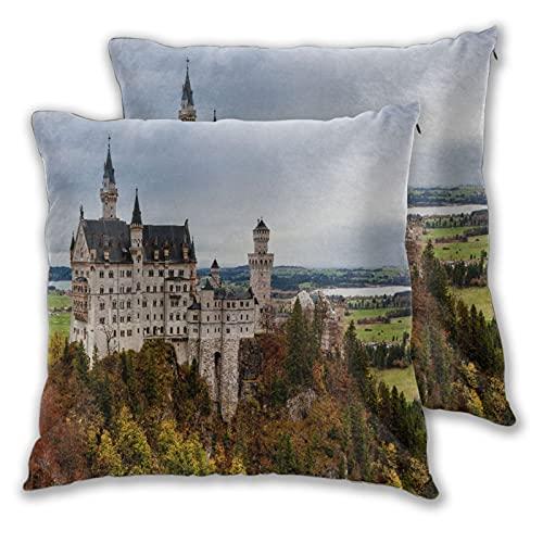 LONSANT Juego de 2 Fundas de Cojín,Castillo de Neuschwanstein, Famosa atracción turística de...