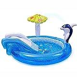 MUYEY Piscina Inflable con chorros, Piscina Infantil con Diapositivas, Piscina de Ocio sobre Tierra, Jets inflables del delfín, Adecuado para Jardines al Aire Libre para niños