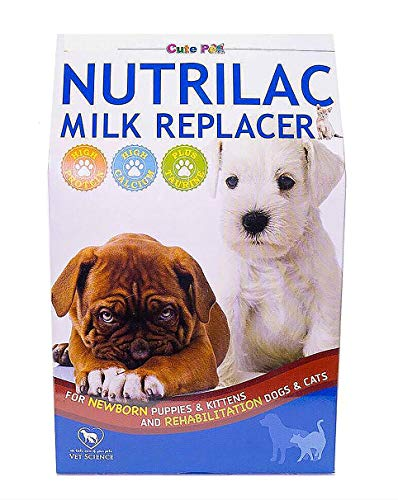 CUTE PETS NUTRILAC, Sterilized Goat Milk Replacer Best for Newborn Puppies Kittens, Rehabilitation Dogs Cats & Mammals, High Growth Strengthens Immunity Pet Milk Replacement Food Supplement 250 g./box