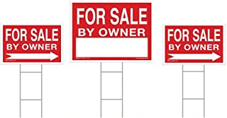 for Sale by Owner Sign Kit - 3 Double Sided Signs & 3 Heavy Duty H-Stakes - Red Property Signs 18