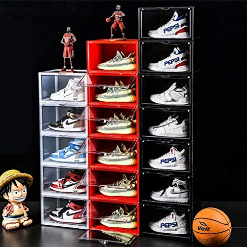 Socalsunny 6-Boxes Set Storage Shoes Box Heavy Duty Drop Front Sneaker Storage Box Case Plastic Foldable Stackable Display Container Bin Magnetic Closet Shelf Shoe Organizer Pack Clear