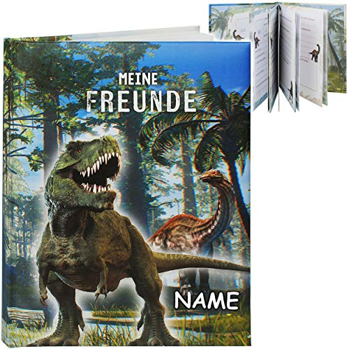 Freundebuch _ Meine Freunde _ Dinosaurier - Dino T-Rex - inkl. Name - A5 - Buch gebunden für Schule / Vorschule / Kindergarten / Kita - Kind - Kinder Poesieal..