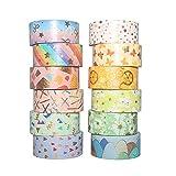 Kaimeilai Washi Tape Set, 12 piezas de cinta Washi, cinta decorativa para manualidades, cinta Washi Vintage para manualidades, embellecer revistas, embellecer revistas de balas, decoración de