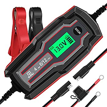 SUHU Car Battery Charger 6V/12V 4 Amp Battery Charger Automotive Trickle Charger for Cars Trucks Motorcycle Lawn Mower Boat Marine RV SUV ATV SLA Wet AGM Gel Cell Lead Acid Lithium Battery