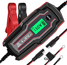 SUHU Car Battery Charger, 6V/12V 4 Amp Battery Charger Automotive Trickle Charger for Cars, Trucks Motorcycle Lawn Mower Boat Marine RV SUV ATV SLA Wet AGM Gel Cell Lead Acid Lithium Battery