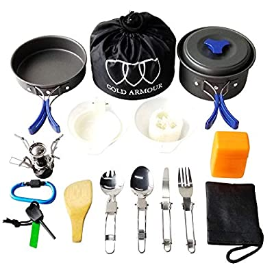Gold Armour 17 Pieces Camping Cookware Mess Kit Backpacking Gear & Hiking Outdoors Bug Out Bag Cooking Equipment Cookset, Lightweight, Compact, Durable Pot Pan Bowls (Blue)