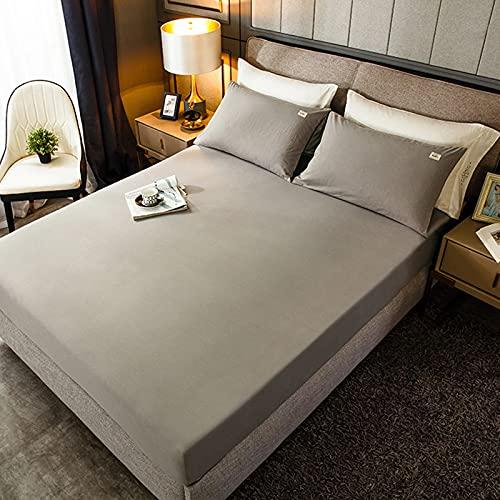 HAIBA Sábana bajera ajustable de lujo, suave, 100% algodón, sábana bajera elástica en colchón de cama doble, elástica, duradera (150...