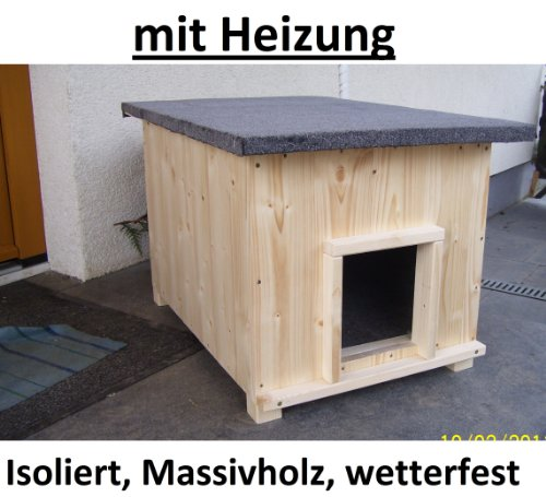 Katzenhaus kurz mit Heizung Katzenhütte Wurfkiste Hundehütte wetterfest isoliert