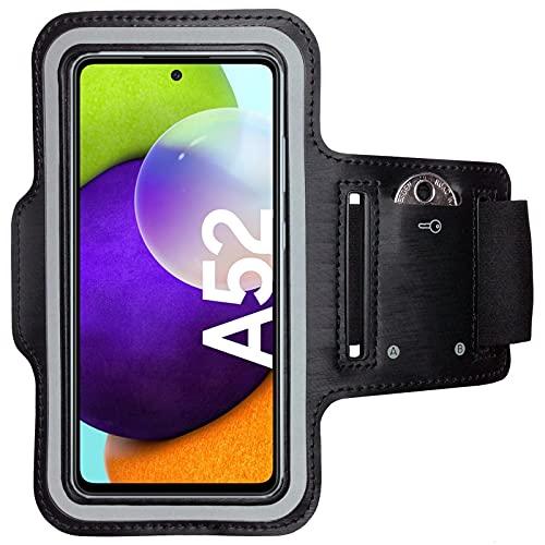 CoverKingz Sportarmband für Samsung Galaxy A52 / A52 5G / A52s 5G - Armtasche mit Schlüsselfach Galaxy A52 / A52 5G / A52s 5G - Sport Laufarmband Handy Armband Schwarz