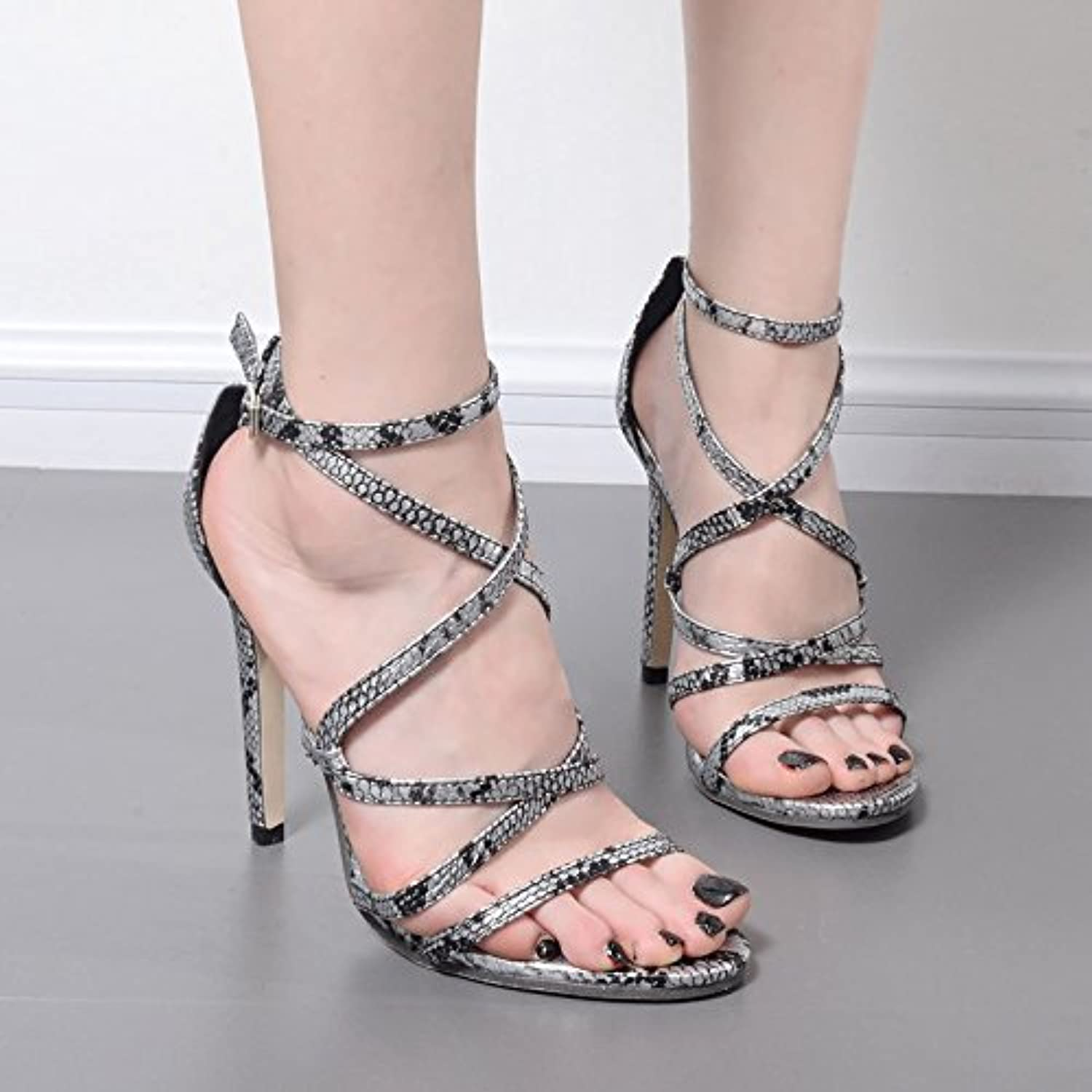 Sexy Snakeskin Roman shoes high Heels Sandals