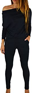 Women Off Shoulder Elastic Waisted Long Pant Casual Jumpsuit Outfits