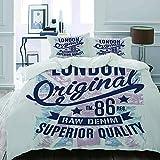 MIGAGA Parure de lit Adulte,Housse de Couette,Bleu Graphique Londres rétro Vintage...