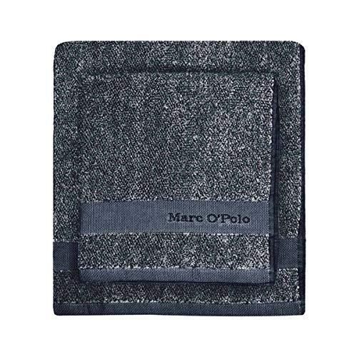 Marc O'Polo Melange Gants et carrés de Toilette, Eponge Coton tissé Teint (550 GR/m²), Marine/Earth Brown, 16 cm x 22 cm