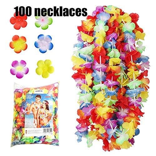 NNDOLL ® Ghirlanda Hawaiana Collana Hawaii Hula Leis Fiori Multicolori (Multicolore, 100 pz)