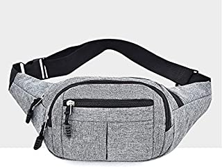 YKDY Shoulder Bag Pure Color Multi-Function Casual Pockets Waterproof Chest Bag Waist Sport Bag (Black) (Color : Grey)