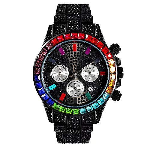 LuBHnna Bling Iced out Reloj de Cuarzo para Hombres Plata Oro Colores Diamantes simulados Calendario Cronógrafo Reloj Pulsera para Hombres y Mujeres