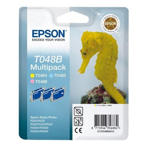 Epson Multipack 3-colours T048B - Cartucho de tinta para impresoras (Cian, Magenta, Amarillo, 39 ml, Epson Stylus Photo R200, R220, R300, R320, R340, RX500, RX600, RX620, RX640, 24,6 cm, 11,6 cm, 14,5 cm) Si