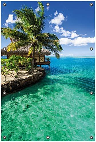 Wallario Garten-Poster Outdoor-Poster, Karibisches Meer – Einsame Hütte unter Palmen in Premiumqualität, für den Außeneinsatz geeignet