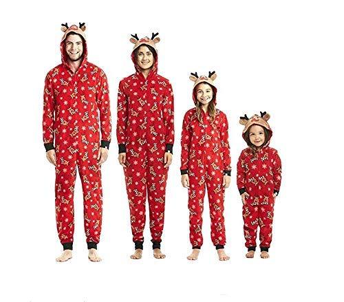 Pijamas una Pieza Familiares de Navidad, Conjuntos Navideños de Algodón Diseño de Rayas para Mujeres Hombres Niño Bebé, Ropa para Dormir Otoño Invierno Sudadera Chándal Suéter de Navidad