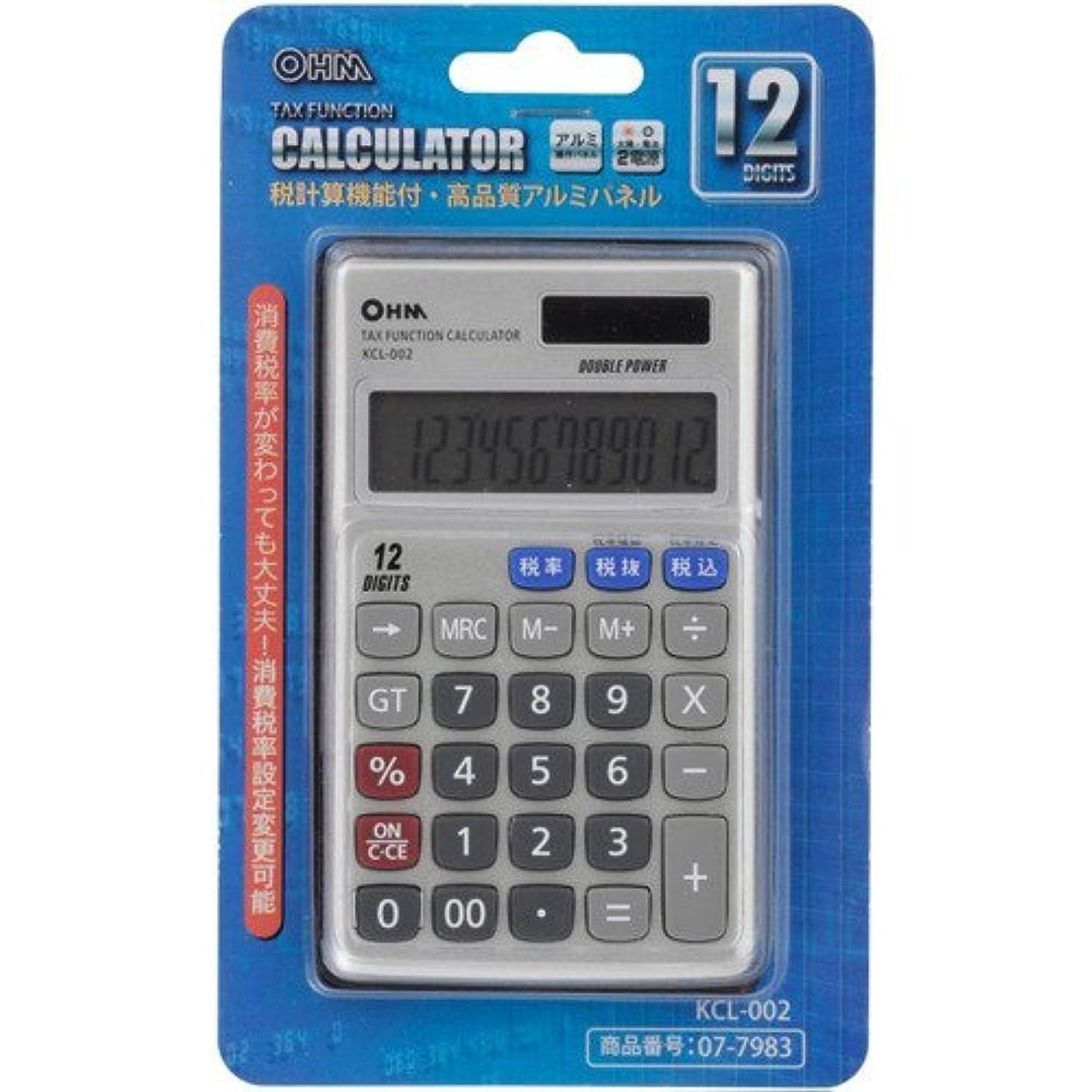 精査する祝う民間OHM 12桁手帳サイズ電卓 KCL-002