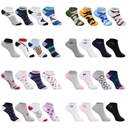SG-WEAR 12 Paar Kinder Sneakersocken für Jungen & Mädchen Kindersocken mit hohem Baumwollanteil Füßlinge in verschiedenen Motiven/Sneaker Socken in Größe 23-26, 27-30, 31-34, 35-38 (35-38, GIRL 3)
