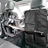 Tactical Car Seat Back Organizer with Molle Panel Vehicle Gun Holder- Seat Back Storage Cover with Gun Rack For Rifle Hunting Universal Fit SUV Truck MPV Pickup (2 Packs)