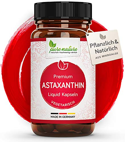 100% VEGETARISCH: Premium Astaxanthin I 60 pflanzliche Kapseln | 4 mg | Höchste Bioverfügbarkeit | Aus Mikroalge mit Vitamin C & E | Antioxidant