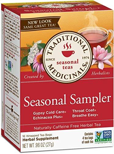 Traditional Medicinals Organic Seasonal Tea Sampler Variety Pack, 16 Tea Bags (Pack of 3)