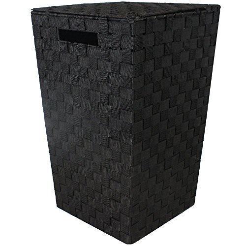 JVL Modern Tapered Laundry Basket with Inset Handles, Metal/Plastic, Black