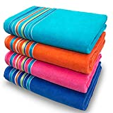 Large Beach Towel Extra Soft 36 x 70 inch Hotel Pool, Resort and SPA Style 100% Cotton Solid Colors with Striped Border (Pink-Orange-Turquoise-Cobalt, 4 Pack)