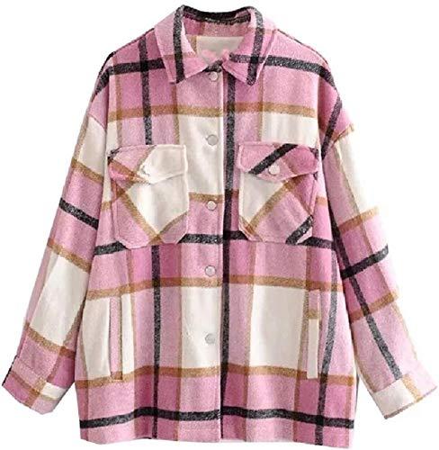Chaqueta cortavientos para mujer con solapa, cálida, otoño, invierno, con bolsillo