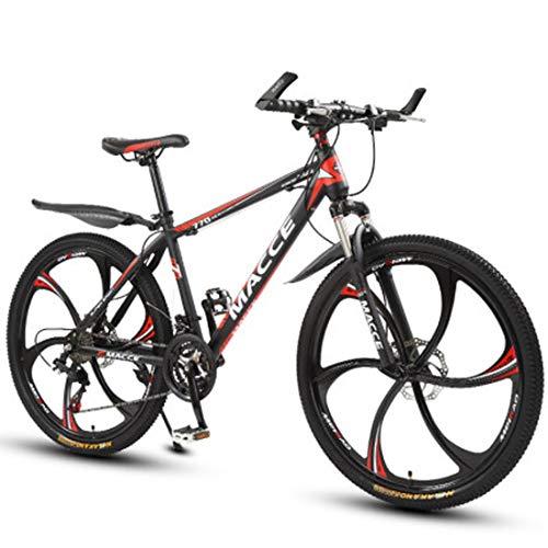 GL SUIT 27-Gang-Fahrrad Mountainbike für Erwachsene Doppelscheibenbremsen, leichten Carbon Stahlrahmen, abschließbare Stoßdämpfung, vorn + hinten Kotflügel,Rot,26 inches