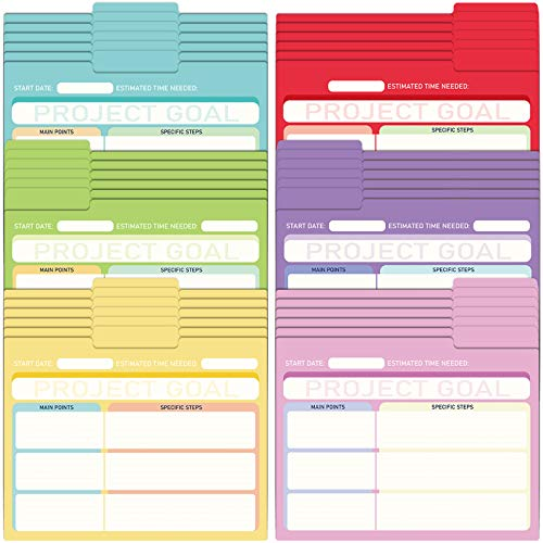 EOOUT 30 Pack Project File Folders with Tabs, Colored File Folders, Manila, Notes File Folders, Letter Size, 6 Assorted Colors, 11.5x9.5inch, 1/3 Cut, for Students, Office Supplies