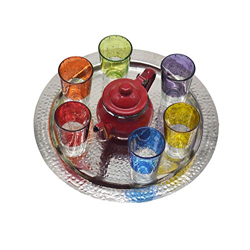 Juego de té modelo moruno de Marruecos, 6 vasos de colores más...