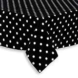 Cackleberry Home Black and White Polka Dot Fabric Tablecloth, 52 x 70 Rectangular