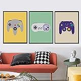 Gaming Boys Imágenes artísticas de pared Controladores de videojuegos Posters Gamer Gift Canvas Painting E-Sports Room Kidroom Decor 60x90cm (24x35in) x3 Sin marco