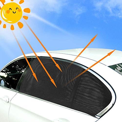 2Pcs Tendine Parasole Auto,ZCZUOX Tendine Parasole auto bambini per Finestrino Laterale, protezione da raggi UV per animali domestici. Protezione da insetti e zanzare.