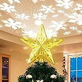 Estrella de Navidad Árbol con Proyector LED, Efecto de Lluces de Copo de Nieve Blanco Giratorio Brillantes, Adorno Topper de Árbol de Navidad Dorado brillante para Decoraciones de Árboles de Navidad