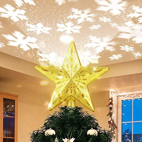 Weihnachtsbaumspitze Stern mit LED Projektion von dynamischen Schneeflocke Lichteffekte, goldene Glitter Christbaumspitze Weihnachtsbaumdeko, Netzteilbetriebene Tannenbaumspitze Weihnachtsbaumschmuck
