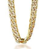 Halukakah  Bling  Uomo Placcato Oro Reale 18k Set di Diamanti Artificiali Grande Catena Cubana Collana 18'(45cm) con Pacco Regalo Gratuita