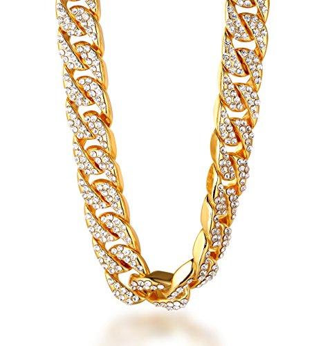 Halukakah ● Bling ● Herren Halskette Gold 18k Echt Vergoldet Diamanten Gesetzt Groß Miami Kubanische Kette 24