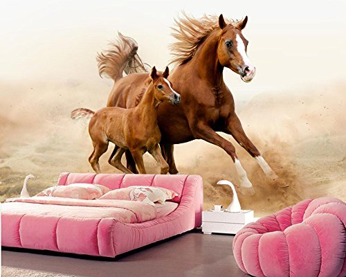 Yosot Pferde Jungen Zwei Tiere Foto 3D Tapeten Zimmer Fernseher Sofa Living Wall Schlafzimmer Tapeten Home Decor-140Cmx100Cm