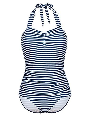 Pussy Deluxe Sally Striped Swimsuit, Badeanzug blau/Weiss, Größe:XS