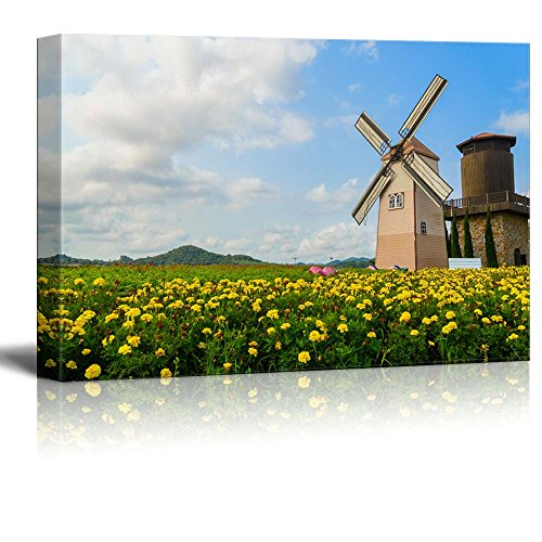 "Canvas Prints Wall Art - Beautiful Scenery of Wind Turbine The Field with Yellow Flowers | Modern Wall Decor/Home Decor Stretched Gallery Canvas Wraps Giclee Print & Ready to Hang - 32"" x 48"""