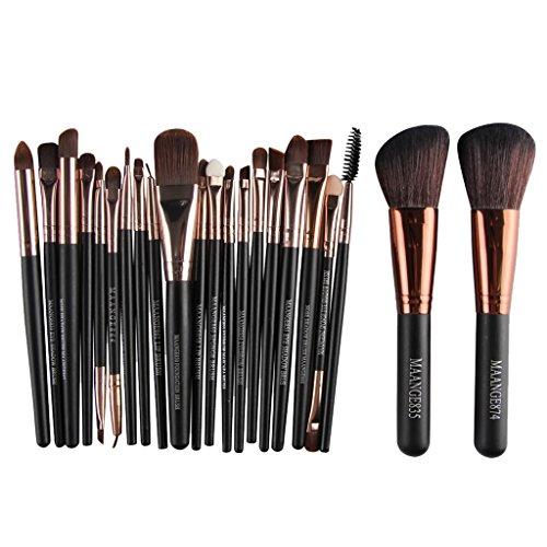 SDENSHI Kit de Pinceaux de Maquillage Professionnel En Bois Foundation Eyeshadow Kabuki Set de 22pc - Café noir