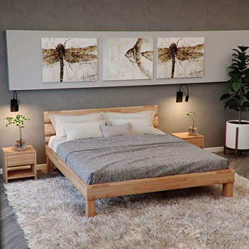 Krok Wood Massivholzbett Valetta mit Kopfteil in Buche 140x200 cm