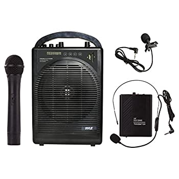 Pyle Portable Outdoor PA Speaker Amplifier System & Microphone Set with Bluetooth Wireless Streaming Rechargeable Battery - Works with Mobile Phone Tablet PC Laptop MP3 Player - PWMA1216BM BLACK