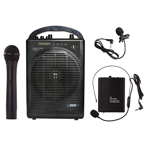 Pyle Portable Outdoor PA Speaker Amplifier System & Microphone Set with Bluetooth Wireless Streaming, Rechargeable Battery - Works with Mobile Phone, Tablet, PC, Laptop, MP3 Player - PWMA1216BM, BLACK